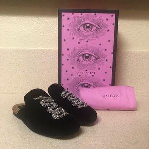 Gucci Velvet Embellished Lawrence Mule Black 36 /6